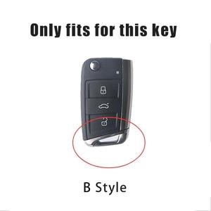 Image 5 - Leather Car Key Case Shell For Volkswagen VW Polo Golf 7 MK7 Tiguan passat For Skoda Octavia Kodiaq Karoq For Seat Ateca Leon FR