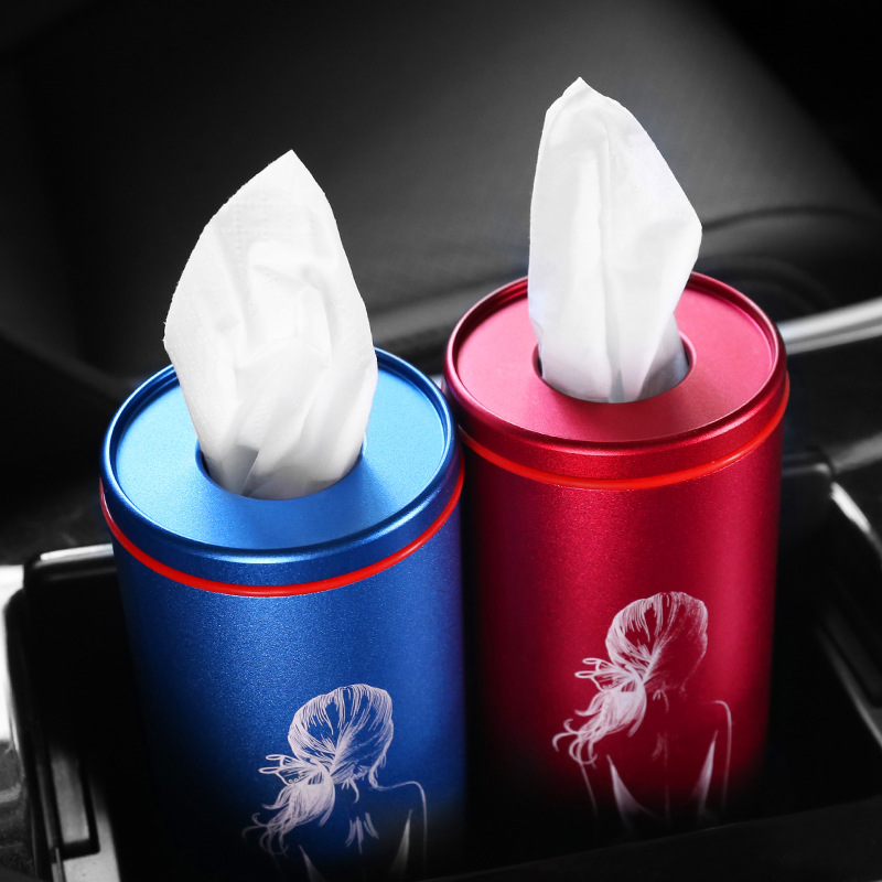Popular Brand Car Supplies Women's Car Mounted Smoke Tube Tissue Box Personalized & Creative Paper Towel Tube Car Cylinder Paper