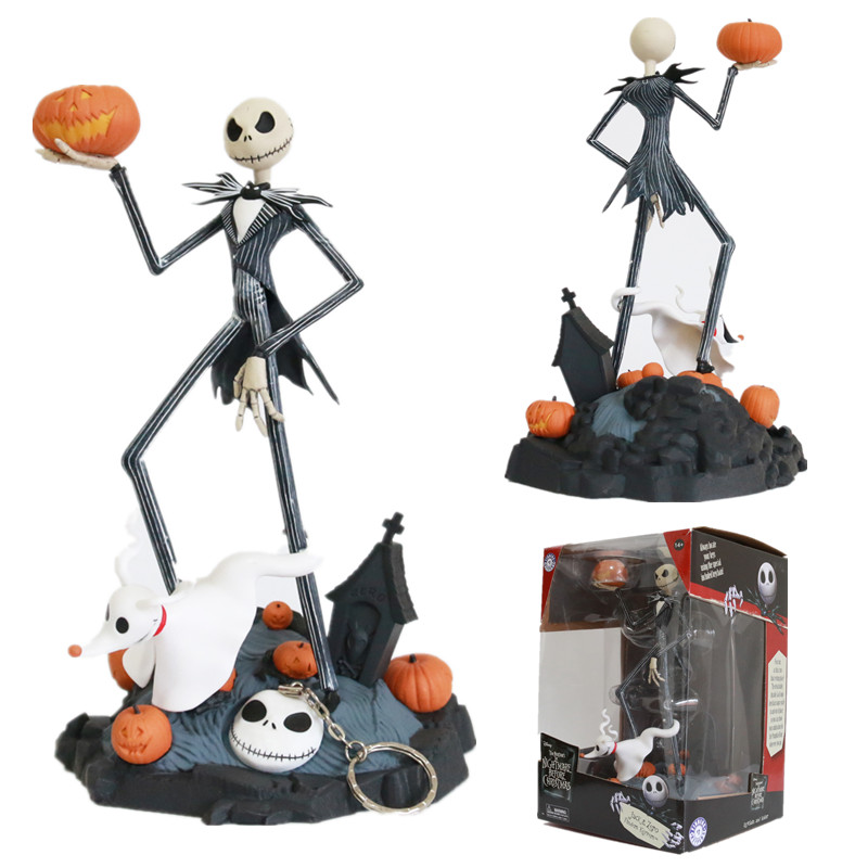 In Stock The Nightmare Before Christmas Jack Skellington Figures Collectible Model Toy With Keychain Christmas Gifts Doll 28cm