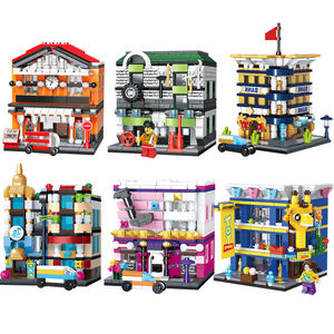 Городской мини уличный вид строительные блоки железнодорожная станция авто ремонтный магазин банк отель музыкальный зал игрушка магазин К...