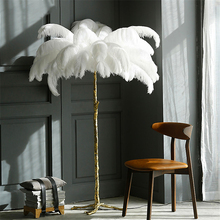 Modern Ostrich Feather Living Room LED Floor Lamps Bedroom Interior Lighting Decor Light Standing Lamp