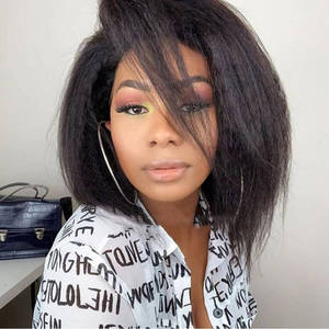Bob Wigs HAIR Lace Closure Lace-Front Pre-Plucked Kinky Straight Black-Women 13x4 LS