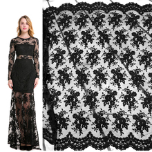 QJH Brand Black French Lace Fabric Tulle Embroidered Flower Transparent Net White for Wedding Dress Sewing accessories