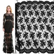 QJH – Tulle brodé de fleurs, tissu en dentelle française noire, filet Transparent, dentelle blanche pour robe de mariée, accessoires de couture