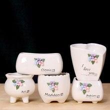Creative Design Mini Ceramic Flower Planter Pot With Handmade White Porcelain Succulent Plant Garden Decoration