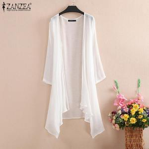 Summer Kimono Cardigan Women Casual Blouse ZANZEA Elegant Asymmetric Shirt Female Long Sleeve Solid Tops Beach Cover Up Wear