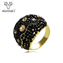 Viennois Mix Color colourful Rhinestone Women Size Ring Gold & Rose Gold Cocktail Party Ring(China)