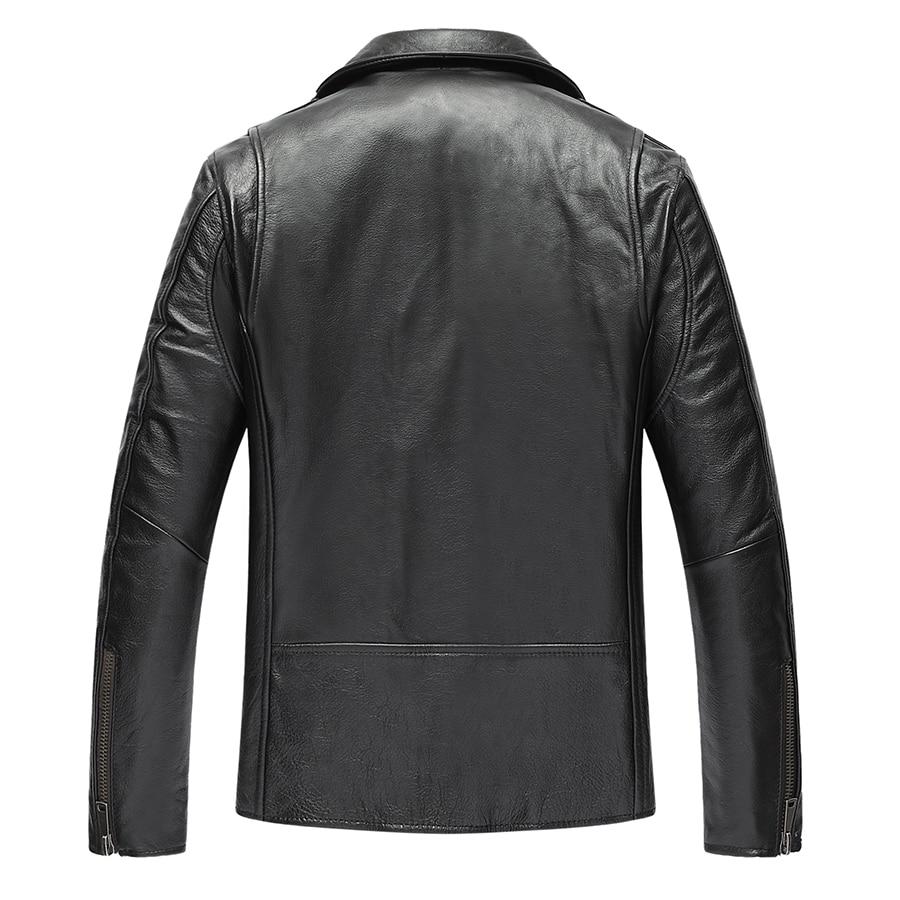 Genuine Leather Jacket Men Real Cow Leather Bomber Jackets Autumn Winter Warm Motocycle Plus Size 19-817 MF603