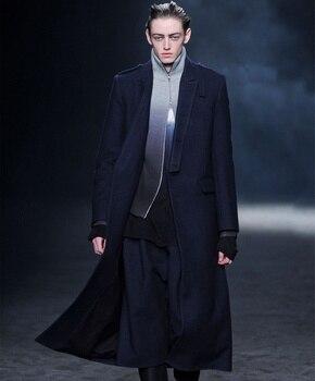 Men's woolen coat winter big-name new coat long business casual woolen coat Men Men Casual Jackets Men Long Coat Men Wool Coat Outwear & Jackets Trench Coat Color: Black Size: XXXL