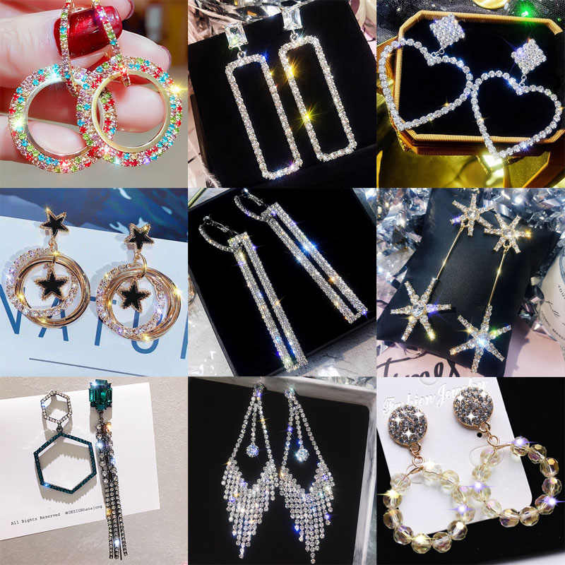 Shiny Side New Fashion Brand Jewelry Mix Color Crystal Dangle Earrings for Women Statement Gift Drop Earrings Free Shipping