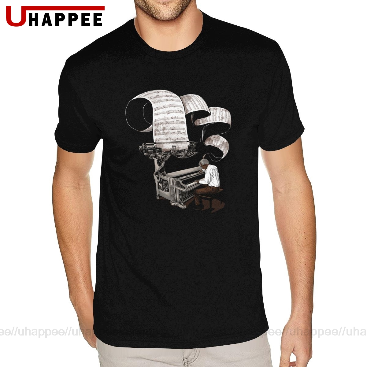 Printing Composer Music Note Piano Pianist T-Shirts Mens 3-6XL Short Sleeved Pure Cotton O Neck T Shirts image