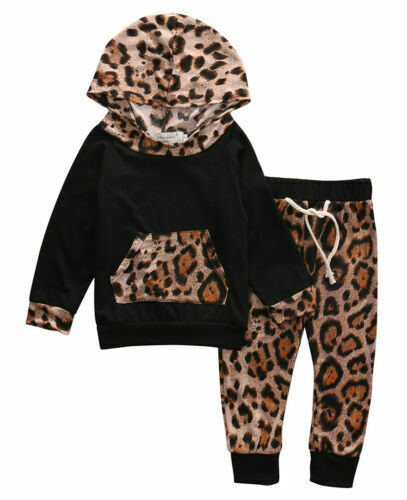 Newborn Kid Baby Girls Cotton Leopard Print Clothes Tops Pants Tracksuit Outfits Set