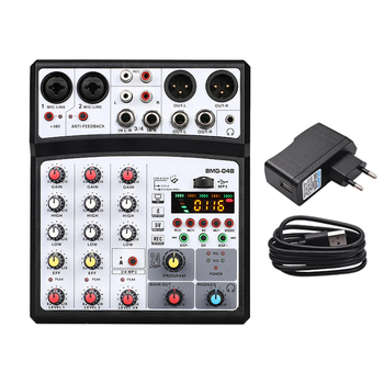 4 channel mixer audio interface dj mixing console karaoke with usb bluetooth powered by usb buses and mobile charger - Black EU Plug