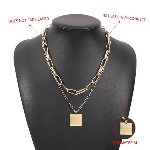 trendy geometric square necklace 3