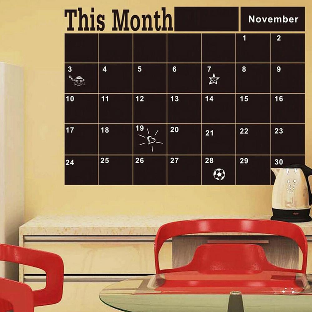 Monthly Blackboard Planner Calendar Weekly MEMO ToDo List Chalkboard Wall Sticker Kids Play Room Study Room Decor