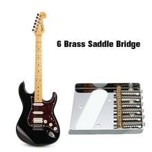 Высокое качество электрогитара мост с 6 латунными седлами музыкальный инструмент Аксессуары для теле хромированная для электрогитары