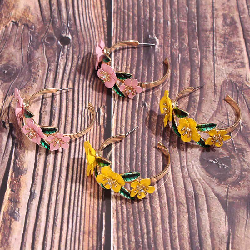 Flatfoosie coréen doux fleur boucles d'oreilles pour les femmes mode ronde élégante multicolore déclaration boucles d'oreilles 2019 femme bijoux