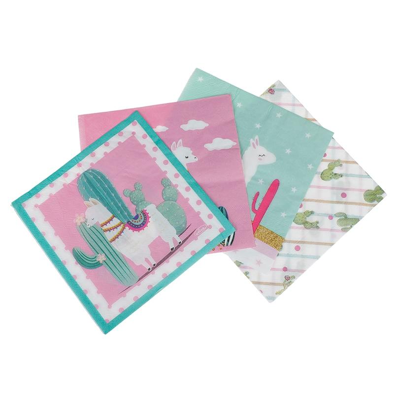 20pcs Alpaca Cactus Paper Napkin Party Facial Tissue for Hawaiian Party Decor