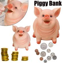 Cute Pig Piggy Bank Resin Craft Coin Money Shaped Box Gifts Toy For Kids Exercise childs Saving ability pink pig