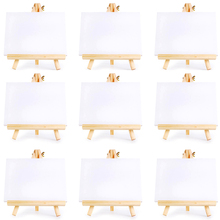24 Set Artists Mini Canvas Set Painting Craft DIY Drawing Small Table Easel Gift