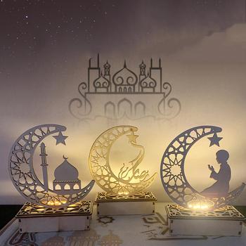 FENGRISE EID Mubarak drewniany naszyjnik dekoracja na Ramadan Islam muzułmańskie dekoracje na imprezę Eid Al Adha Ramadan i Eid Ramadan Kareem tanie i dobre opinie CN (pochodzenie) W1669 Drewno drewniane Id al-Fitr