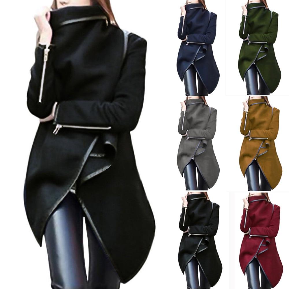 Woolen Coat Winter Warm Top Women Irregular Bow Zippers Sleeve Long Warm Coat Wool Jacket Parka Windbreaker New Fshion Manteau