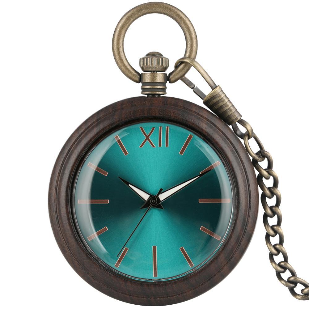 Glaucous Dial Ebony Rough Chain Pocket Watch Necklace Men Delicate Bronze Rough Chain Women Clock Reloj Bolsillo Con Cadena