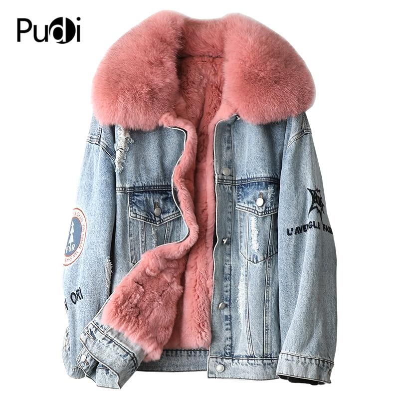 PUDI A49005 Women Winter Cotton Denim Overcoat Real Rex Fur Warm Jacket Fox Fur Collar Girl Coat Lady Long Jacket Overcoat