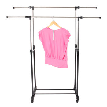 Dual-bar Garment Rack Vertically & Horizontally-Stretching Rolling Closet Organizer Stand Clothes with Shoe Shelf - discount item  30% OFF Home Furniture