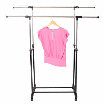 Dual-bar Garment Rack Vertically & Horizontally-Stretching Rolling Closet Organizer Rack Stand Clothes Rack with Shoe Shelf - DISCOUNT ITEM  30 OFF All Category
