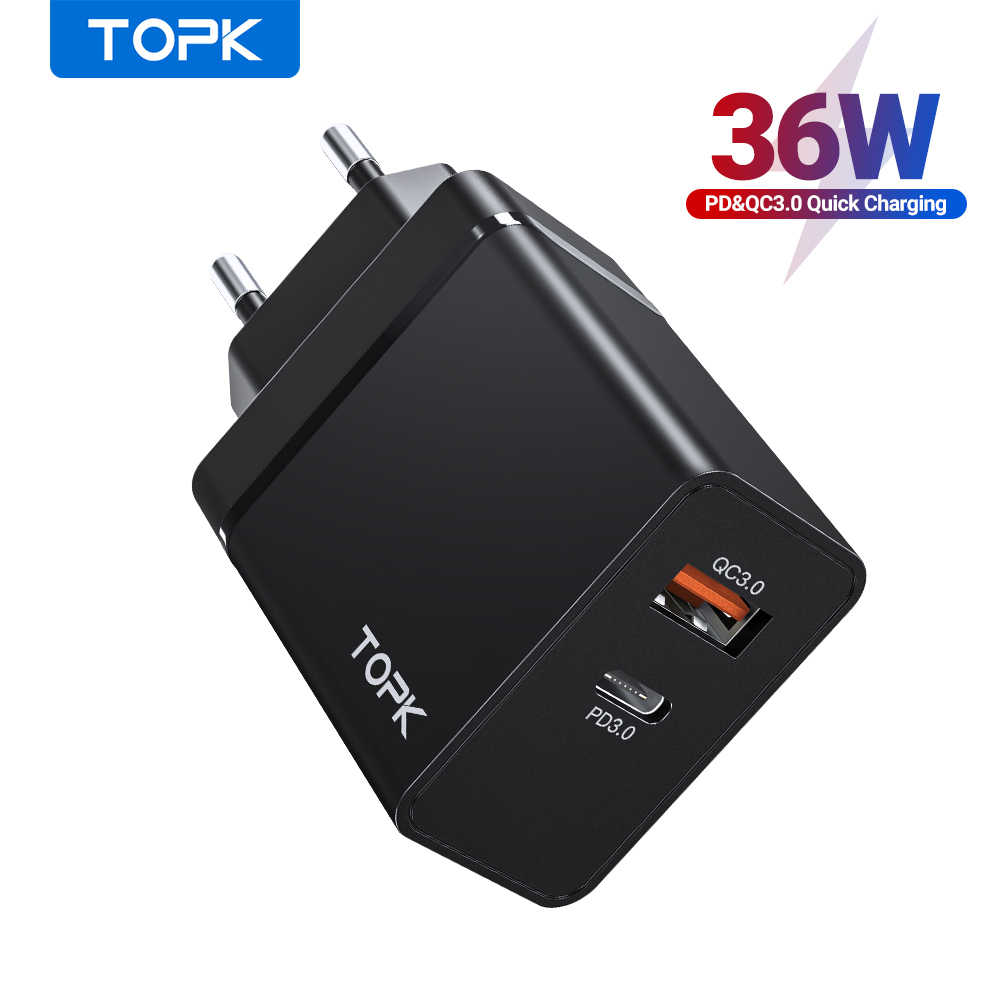 Topk 36W Quick Charge 3.0 Usb Charger Pd Usb C Charger Fast Charger Us Uk Eu Plug Adapter Voor iphone 11 Xiaomi Samsung