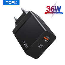Topk 36W Quick Charge 3.0 Usb Charger PD Usb C Charger Cepat Charger US UK EU Adaptor untuk iPhone 11 Xiaomi Samsung(China)