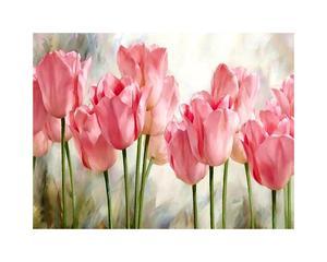 Декор для дома, розовые тюльпаны, настенные художественные картины маслом «сделай сам» по номерам, настенное искусство для раскрашивания п...
