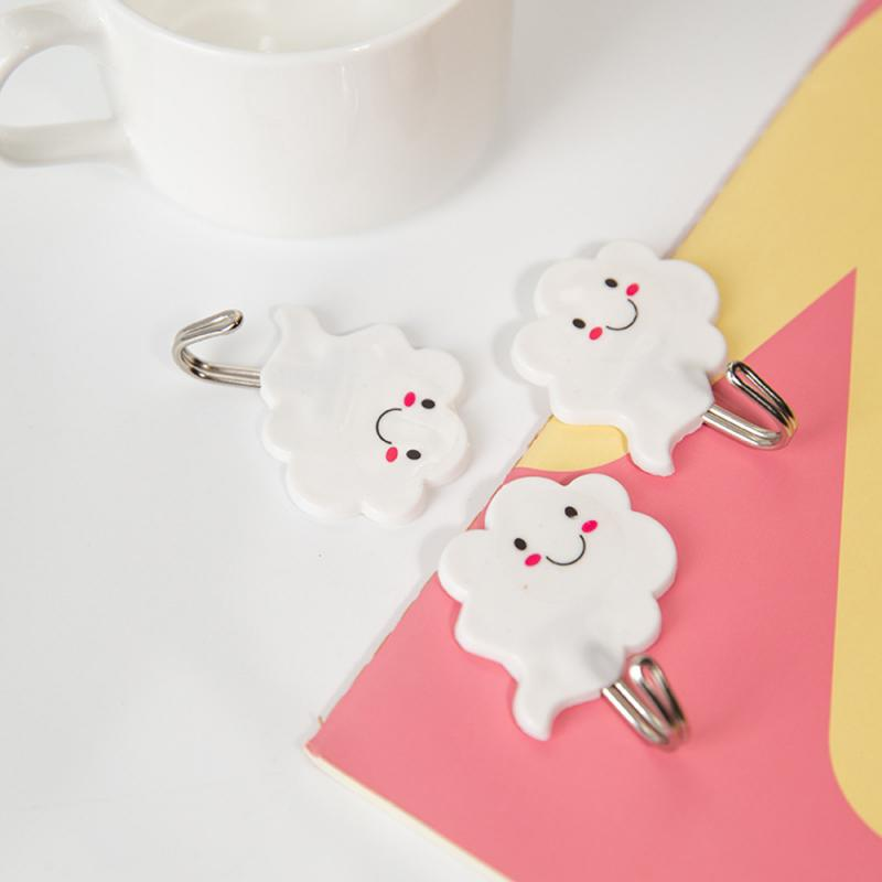 Strong Self-adhesive Traceless Hook Kitchen Bathroom Wall-Mounted Towel Hanger Ceramic Tile Glass Stick Hook Holder Lovely Cloud