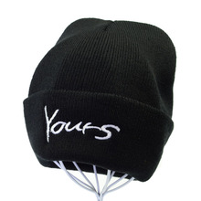 Brand Embroidery YOURS Letter Beanie Hat Women Men Casual Warm Knitted Beanies Crochet Stretchy Slouchy Ski Cap gorro flocking letter patch knitted slouchy beanie