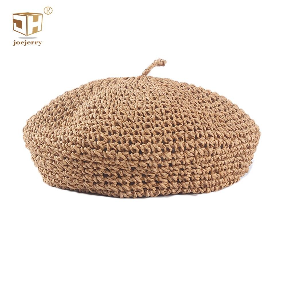 Соломенный берет JOEJERRY, женский летний берет, вязаные шапки французского художника, женская шляпа, весна 2019