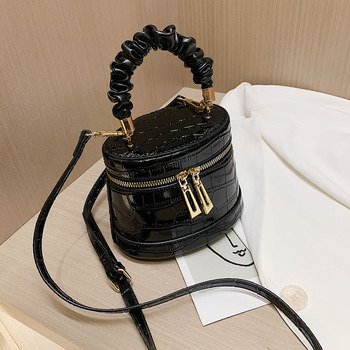 Luxury Handbag Women Bag Leather Bucket Bags For Crossbody Shoulder Stone Pattern Female Handle Purse Bolso