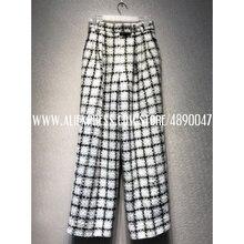 Ретро темперамент элегантный твид плед широкие брюки Уайлд Высокая талия узкие брюки высокое качество женская одежда брюки