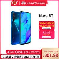 """Código promocional """"ANIVERSARIO010""""100-10€ , Versión Global HUAWEI Nova 5t Kirin980 Octa Core Smartphone 48MP cámaras 32MP cámara frontal del teléfono móvil 6,26 """"6G/8G128G Android 9"""