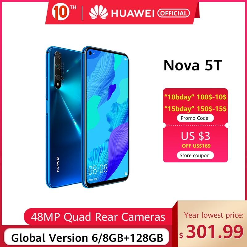 Global Version HUAWEI Nova 5 T Kirin980 OCTA Core สมาร์ทโฟน 48MP กล้อง 32MP กล้องด้านหน้าโทรศัพท์มือถือ 6.26 ''6G/8G128G Android 9
