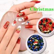 1 коробка Рождественские серии цветные Стразы для ногтей сделай