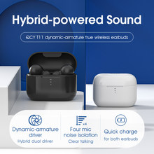Qcy t11 alta fidelidade dupla drivers tws bluetooth fone de ouvido sem fio fones com 4 microfones isolamento ruído com carga rápida