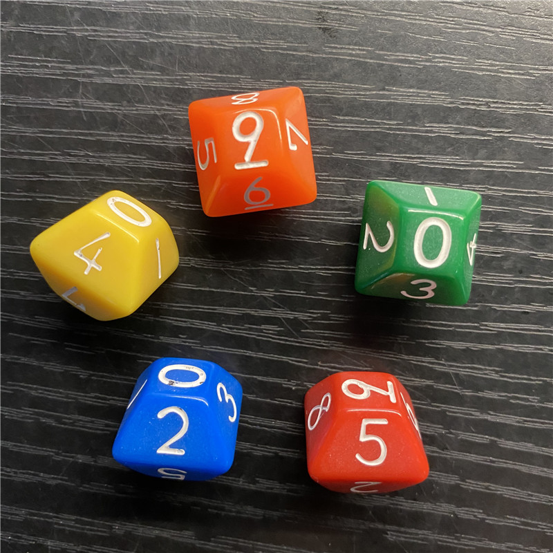 5 Pcs D10 0-9 Numbers 10-Side Dice For Funny Party Club Board Game Math Teaching Accessory Early Education Toy 16.5mm
