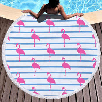 Flamingo Hawaiian Style Beach Towel Super Absorbent Large Size Swimming Pool Microfiber Towel Fashion Blanket with Tassel