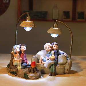 Desk Lamps Decorative Crafts Led-Light Couple Night-Light-Ornaments Wedding-Deco Resin