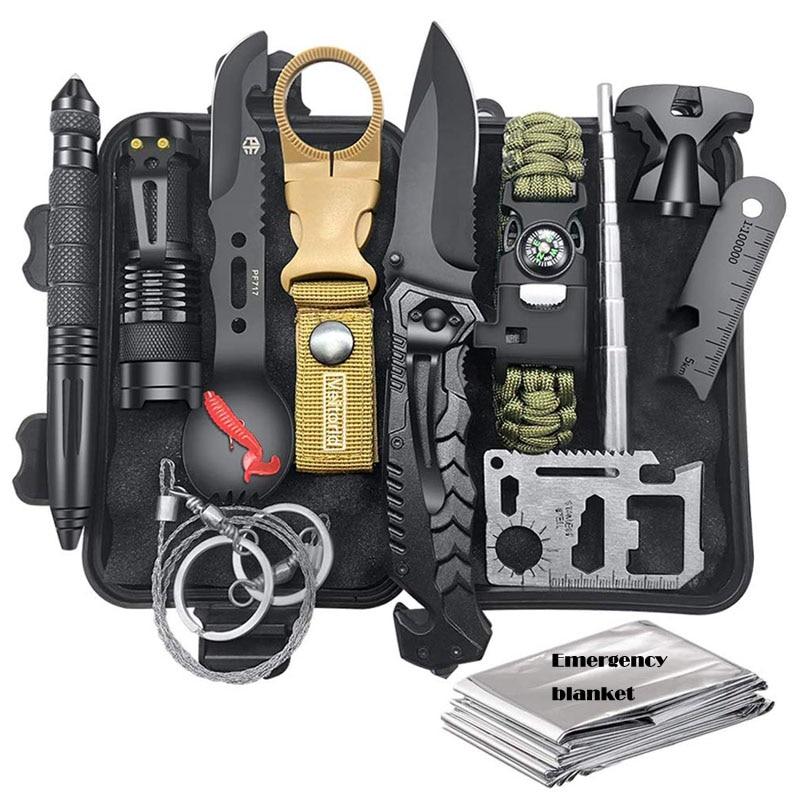 Survival Kit 12 In 1 Fishing Hunting SOS,EDC Survival Gear Emergency Camping Hiking Kit With Knife Flashlight Emergency Blanket