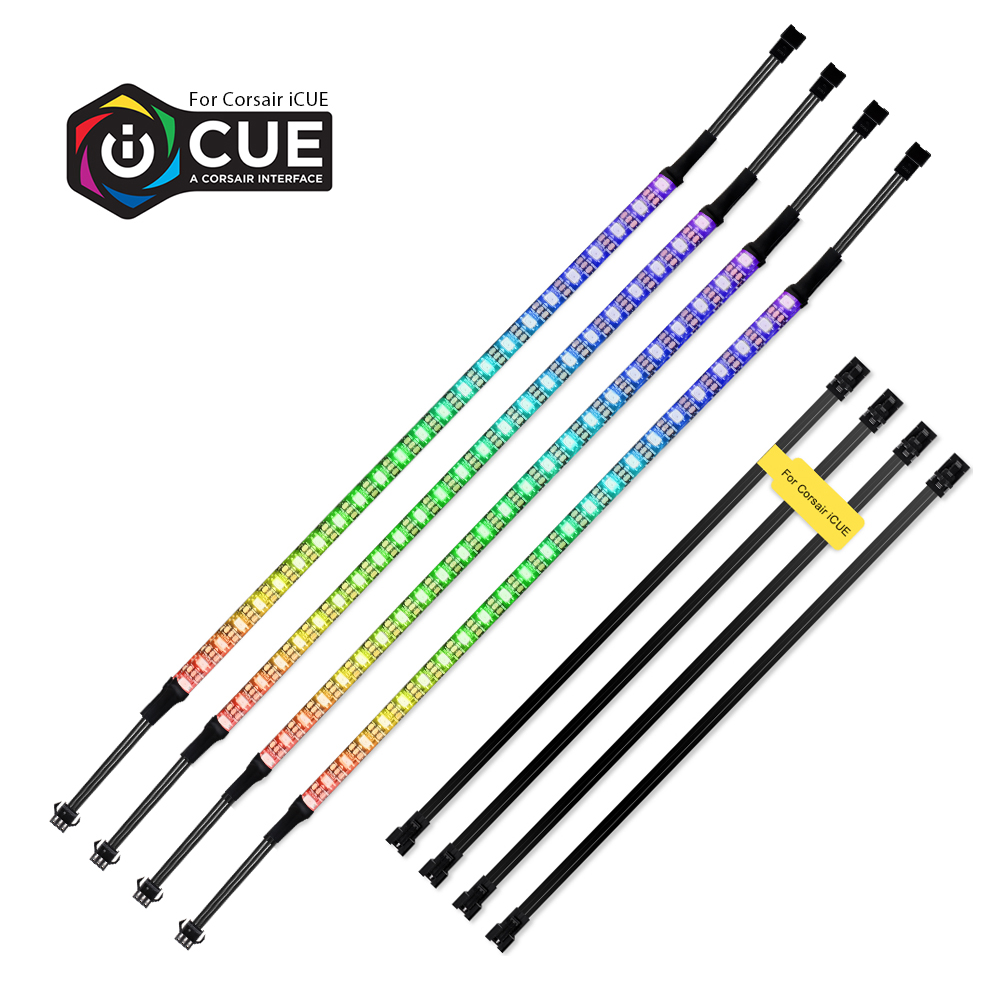 40cm Addressable WS2812b Digital LED Strip Rainbow RGB LED Lighting Kit For PC Computer Case Decor, For ICUE A CORSAIR Interface