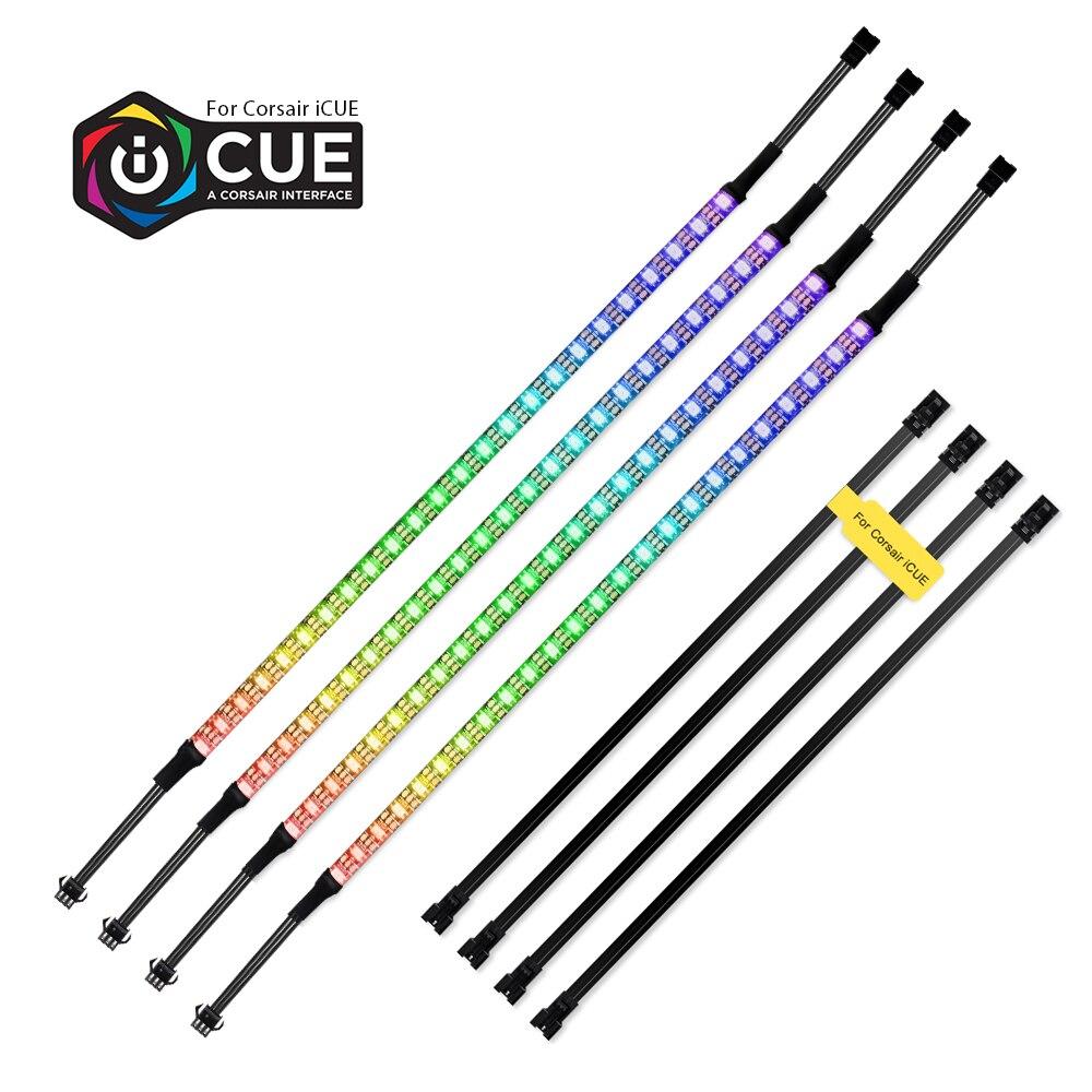 40cm adressable WS2812b bande LED numérique arc-en-ciel rvb LED Kit d'éclairage pour PC coque d'ordinateur décor, pour iCUE une Interface CORSAIR