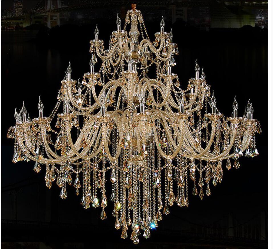Gratis Pengiriman Modern Chandelier Besar Cognac Lampu Kristal Untuk - Pencahayaan dalam ruangan - Foto 3