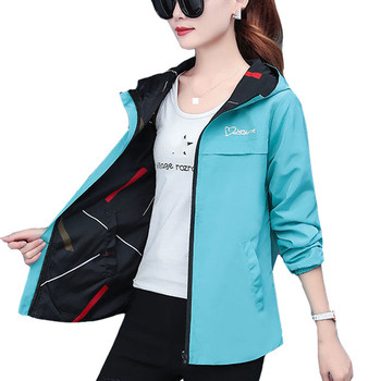 2020 Spring Autumn Women Jacket fashion Hooded Two Side Wear Cartoon Print Outwear women Loose Coat female Windbreaker tops P369